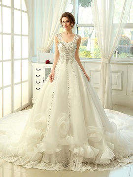 Floor Length A-Line Sweetheart Ruffles Floral Cathedral Wedding Dress & simple Wedding Dresses