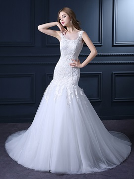 Floor Length Trumpet Sheer Scoop Neck Lace Top White Wedding Dress & vintage Wedding Dresses