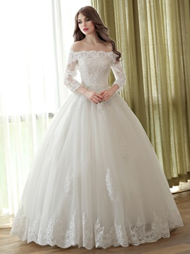 Floor Length Scalloped Off the Shoulder Long Sleeve Ball Gown Wedding Dress & Wedding Dresses on sale