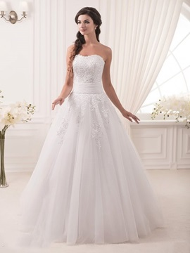 Floor Length A-Line Strapless Ivory Lace Wedding Dress & informal Wedding Dresses