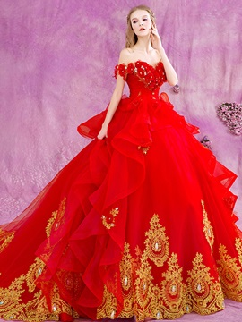 Floor Length Puffy A-Line Beaded Lace Appliques Off the Shoulder Red Wedding Dress & fairytale Wedding Dresses