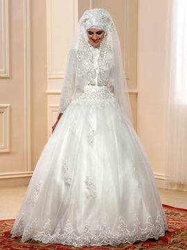 Modest Beaded Lace High Neck Islam Muslim Wedding Dress with Sleeves & colorful Wedding Dresses
