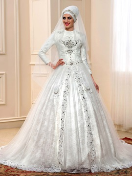 Beaded Lace Long Sleeve Muslim Wedding Dress with Long Train & petite Wedding Dresses