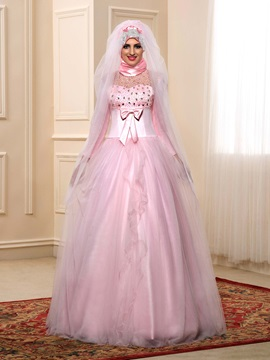 Modest Beaded Bowknot Pink Tulle Muslim Wedding Dress with Sleeves & amazing Wedding Dresses