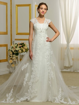 V Neck Appliques Cap Sleeveless A Line Wedding Dress & modest Wedding Dresses