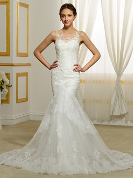 Sheer Neck Appliques Sleeveless Mermaid Wedding Dress & Wedding Dresses online