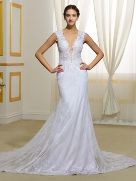 Sexy V Neck Sheer Back Mermaid Lace Wedding Dress & Wedding Dresses online