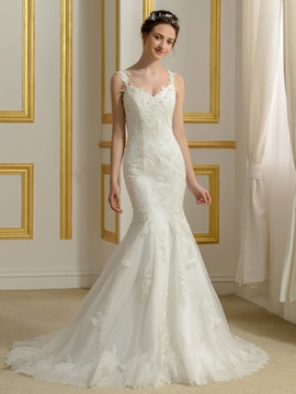 Lace Appliques Spaghetti Straps V-Neck Mermaid Backless Wedding Dress & formal Wedding Dresses