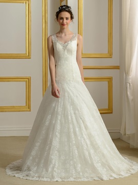 Sequin Beaded V-Neck Ivory Lace Wedding Gown & formal Wedding Dresses