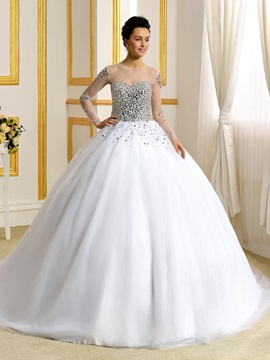 Sheer Scoop Neck Sweetheart Long Sleeve Ball Gown Wedding Dress & Wedding Dresses online