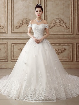 Flare A-Line Beaded Off the Shoulder Lace Wedding Dress & affordable Wedding Dresses