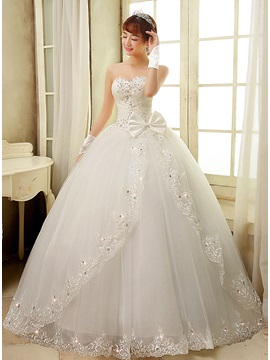 Strapless Sweetheart Ruched Beaded Corset Lace Appliques Bowknot Ball Gown Wedding Dress & Wedding Dresses under 100