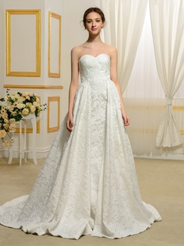 Floor Length A-Line Sweetheart Lace Wedding Dress & affordable Wedding Dresses