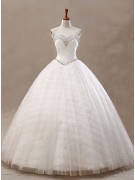 Beading Sweetheart Ivory Tulle Ball Gown Wedding Dress & Wedding Dresses from china