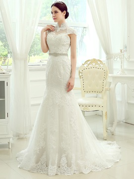 Lace High Neck Sheer Back Mermaid Wedding Dress & attractive Wedding Dresses