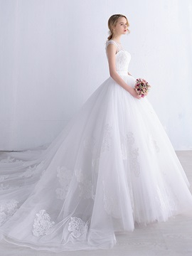 Lace Appliques Ivory Tulle Ball Gown Wedding Dress & Wedding Dresses on sale