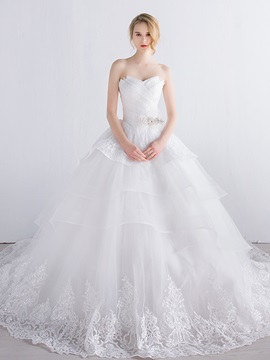 Lace Strapless Tiered Ivory Tulle Ball Gown Wedding Dress & informal Wedding Dresses