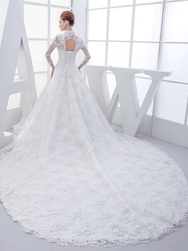 Beaded Lace High Neck Long Sleeve Chapel Wedding Dress & informal Wedding Dresses