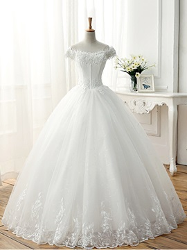 Lace Appliques Off the Shoulder Short Sleeve Ball Gown Wedding Dress & Wedding Dresses online