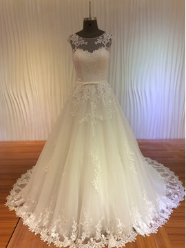Lace Appliques Jewel Neck A-Line Ivory Wedding Dress & Wedding Dresses under 100