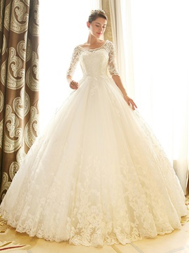 Scoop Neck Lace Half Sleeve Chapel Wedding Dress & Wedding Dresses under 300