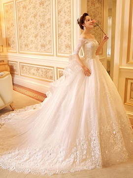 Beaded Lace Off the Shoulder Half Sleeve Ball Gown Wedding Dress & fairy Wedding Dresses