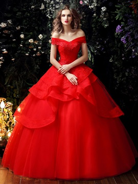 Lace Off the Shoulder Tiered Ruffles Red Princess Wedding Dress & Wedding Dresses under 100