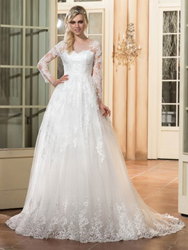 Modest Scoop Neck Appliques A Line Wedding Dress With Sleeves & Wedding Dresses for sale