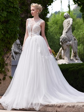Beautiful Illusion Neckline A Line Backless Wedding Dress & colored Wedding Dresses