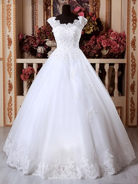 Scoop Appliques Beading Floor Length Ball Gown Wedding Dress & Wedding Dresses under 300