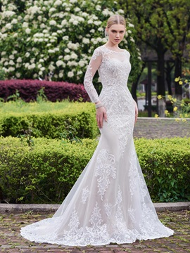 Elegant Appliques Mermaid Wedding Dress With Sleeves & inexpensive Wedding Dresses