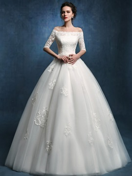 Off The Shoulder Lace Ball Gown Wedding Dress With Sleeves & Wedding Dresses online