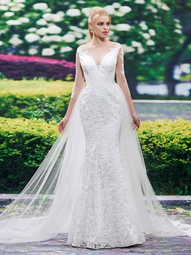 Beautiful Jewel Long Sleeves Lace Mermaid Wedding Dress & modern Wedding Dresses