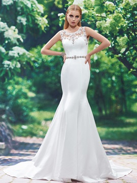 Stylish Scoop Neck Appliques Beaded Mermaid Wedding Dress & Wedding Dresses from china