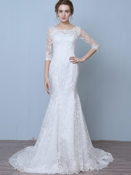 Charming Off The Shoulder Lace Mermaid Wedding Dress With Sleeves & Wedding Dresses online