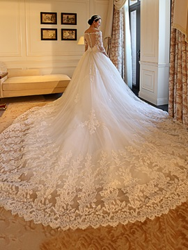 Modest Appliques Off The Shoulder Wedding Dress & casual Wedding Dresses