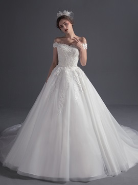 Elegant Off The Shoulder Appliques Princess Wedding Dress & Wedding Dresses under 500