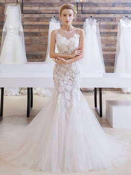 Charming Lace Flower Court Train Mermaid Wedding Dress & colored Wedding Dresses