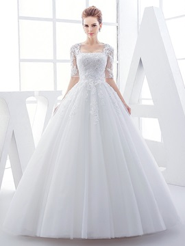 Square Neck Half Sleeves Appliques Ball Gown Wedding Dress & Wedding Dresses on sale