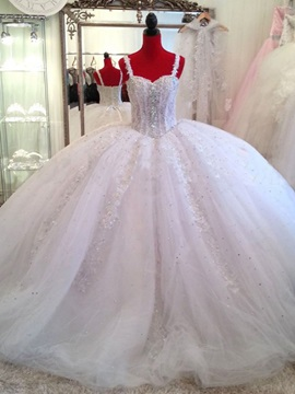 Sweetheart Appliques Beading Ball Gown Floor Length Wedding Dress & colored Wedding Dresses
