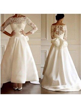 Off The Shoulder Lace Bowknot Ankle Length Wedding Dress & Wedding Dresses from china