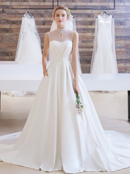 Beading Pearls A Line Matte Satin Court Train Wedding Dress & Wedding Dresses on sale