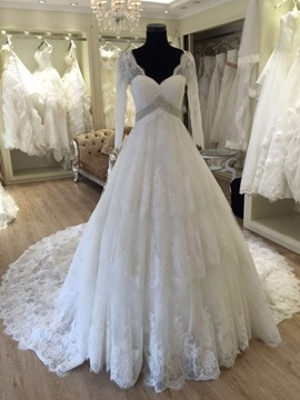 Attractive V Neck Long Sleeves Lace Wedding Dress & Wedding Dresses on sale