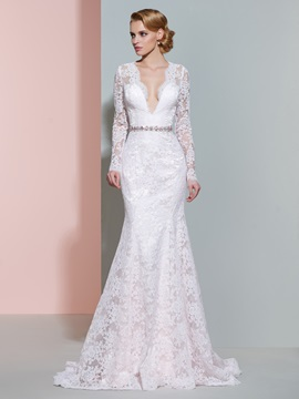 V Neck Beaded Lace Mermaid Wedding Dress With Sleeves & fairy Wedding Dresses