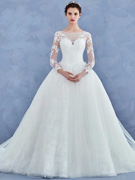 Elegant Beading Appliques Ball Gown Wedding Dress With Sleeves & vintage Wedding Dresses