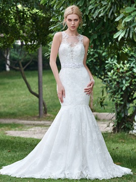 Stylish Scoop Neck Beaded Lace Mermaid Wedding Dress & vintage style Wedding Dresses