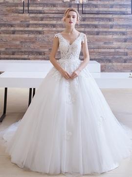 Delicate V Neck Appliques Court Train Ball Gown Wedding Dress & elegant Wedding Dresses
