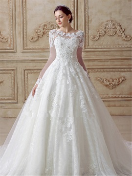 Beautiful Appliques Tulle Long Sleeves A Line Wedding Dress & inexpensive Wedding Dresses