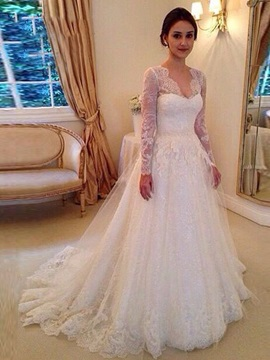 V Neck Long Sleeves Appliques Court Train A Line Wedding Dress & colorful Wedding Dresses