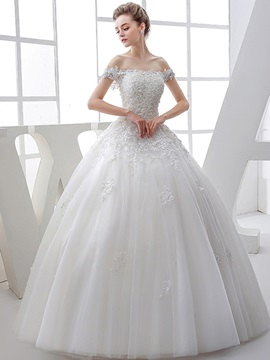Off-The-Soulder Beaded Appliques Ball Gown Wedding Dress & Wedding Dresses on sale